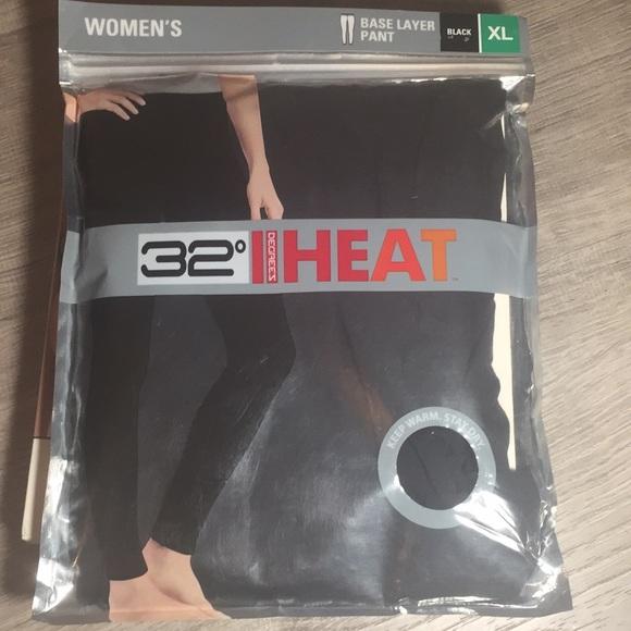 32 Degrees Pants - 32 degrees heat base layer pant black XLarge